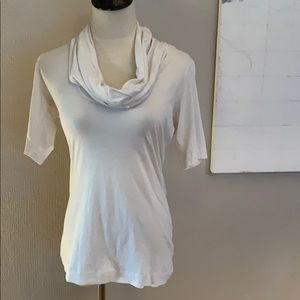 Theory White blouse with cowl neck detail M
